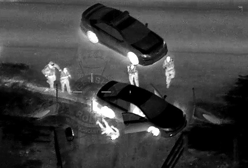 RED HANDED: Still from Polair after police deployed a tyre deflation device on a vehicle involved in a police pursuit.