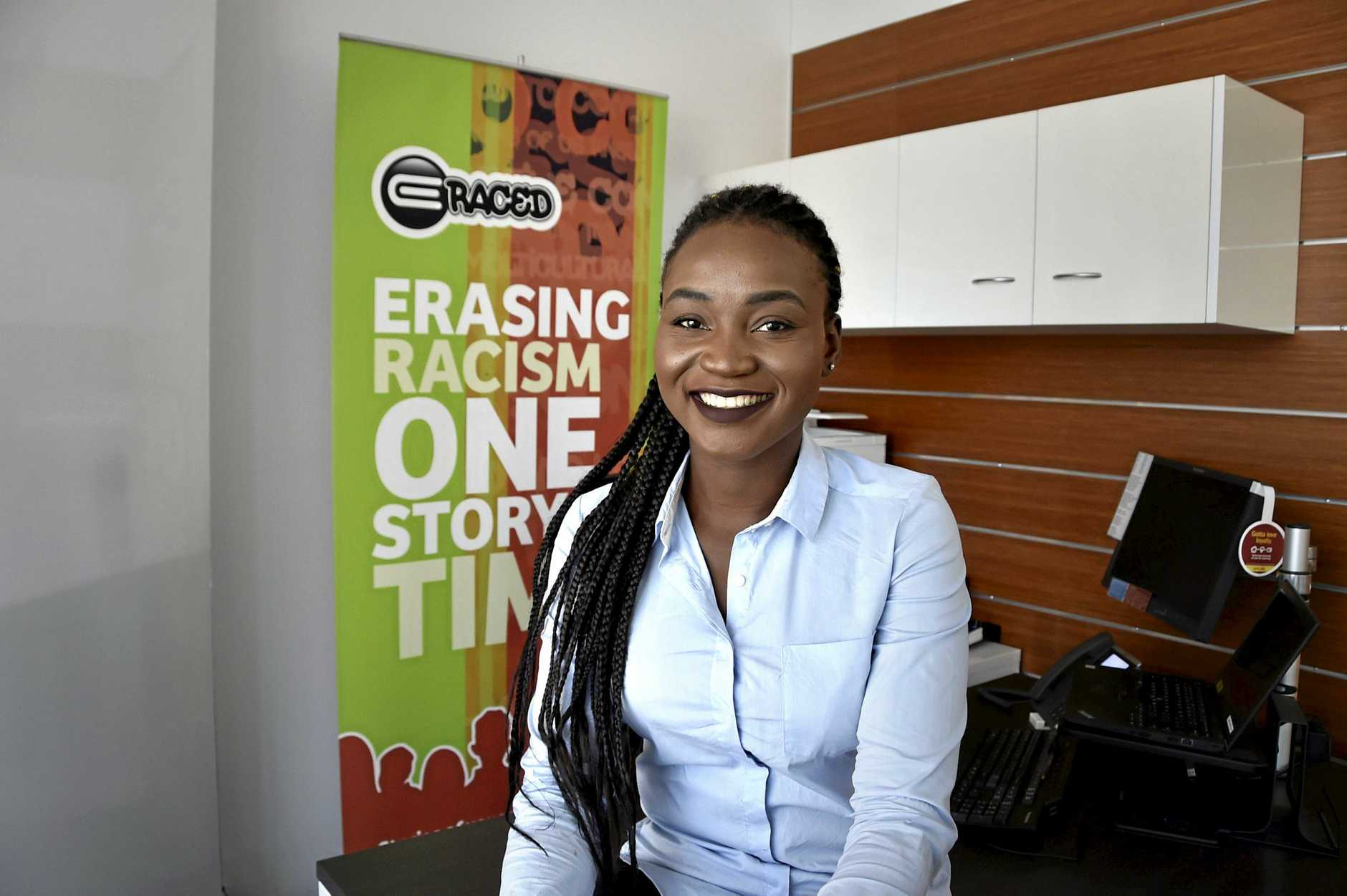 Prudence Melom has opened an office for her  anti-racism project E-Raced. The office in the Bendigo Bank, Neil St is in partnership with the bank. March 2018