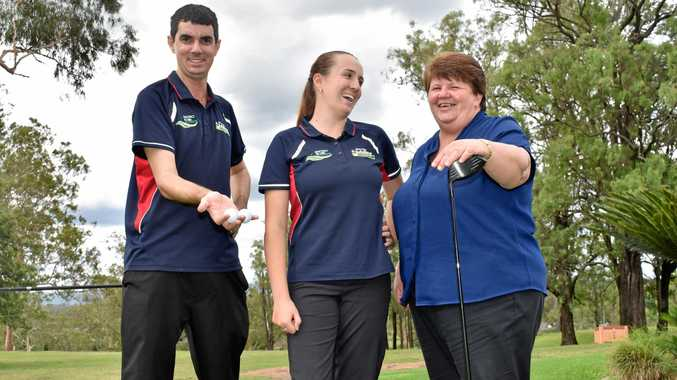 MORE FEMALES: Gatton Jubilee Golf Club staff Luke Zabel, Anna Stanton and Leanne Sippel want more women to play at the course.