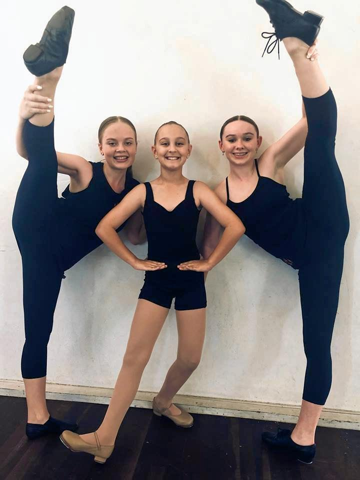 EXCITED: Rhiannon Rasmussen, Amali Paganoni and Dallis McLean. Madeleine Trueman was unavailable for the photo but was selected for her Demi-Character solo.