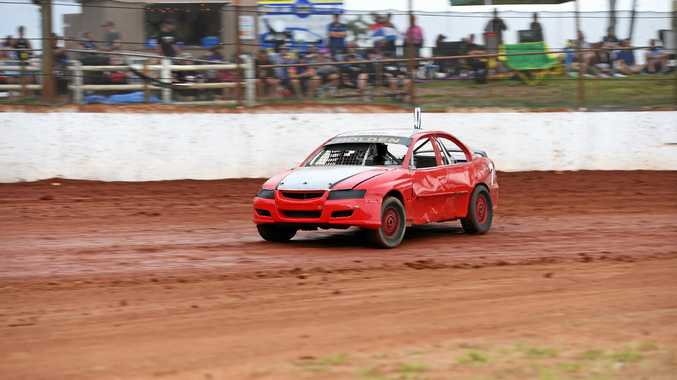 BIG NAME: Steve Jordan in action during the National Production Sedans Title, held at Maryborough Speedway in April. He has won a NSW title, his first state title in 15 years, since then.