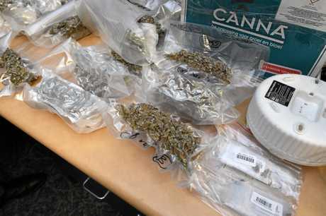Drug haul at the Hervey Bay Police Station.