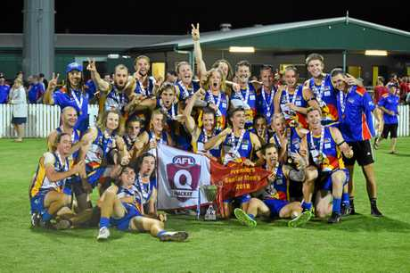 WINNERS ARE GRINNERS: Whitsunday Sea Eagles secured back-to-back AFL Mackay senior premierships courtesy of an 83-point win against Eastern Swans.