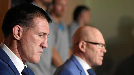 Cronulla Sutherland Sharks CEO Barry Russell and senior player Paul Gallen are joined by the senior players group as they address the media at Sharks Leagues Club.