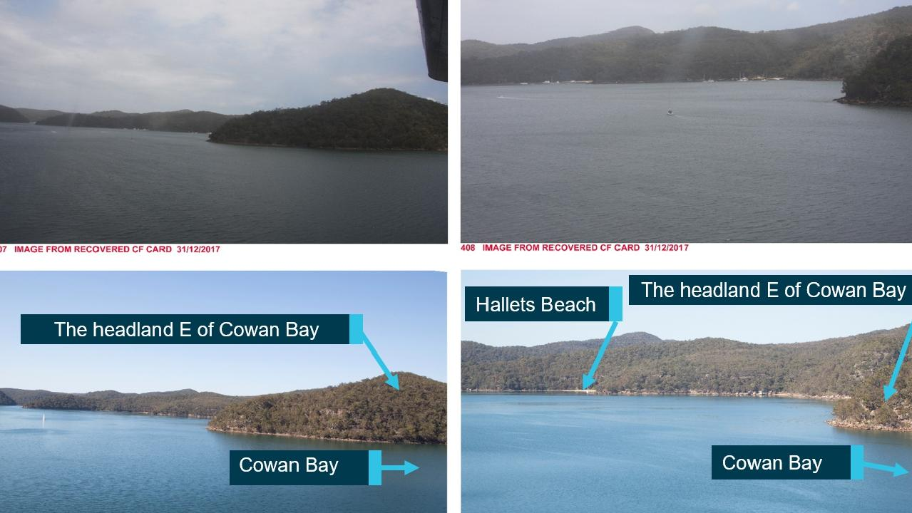 The final photos taken in the minutes before the seaplane crashed on New Year's Eve. The report recreated the same photos to chart the final course.