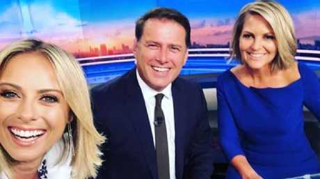 Georgie Gardner at her first day in the co-host's chair, with Karl Stefanovic and Sylvia Jeffreys.