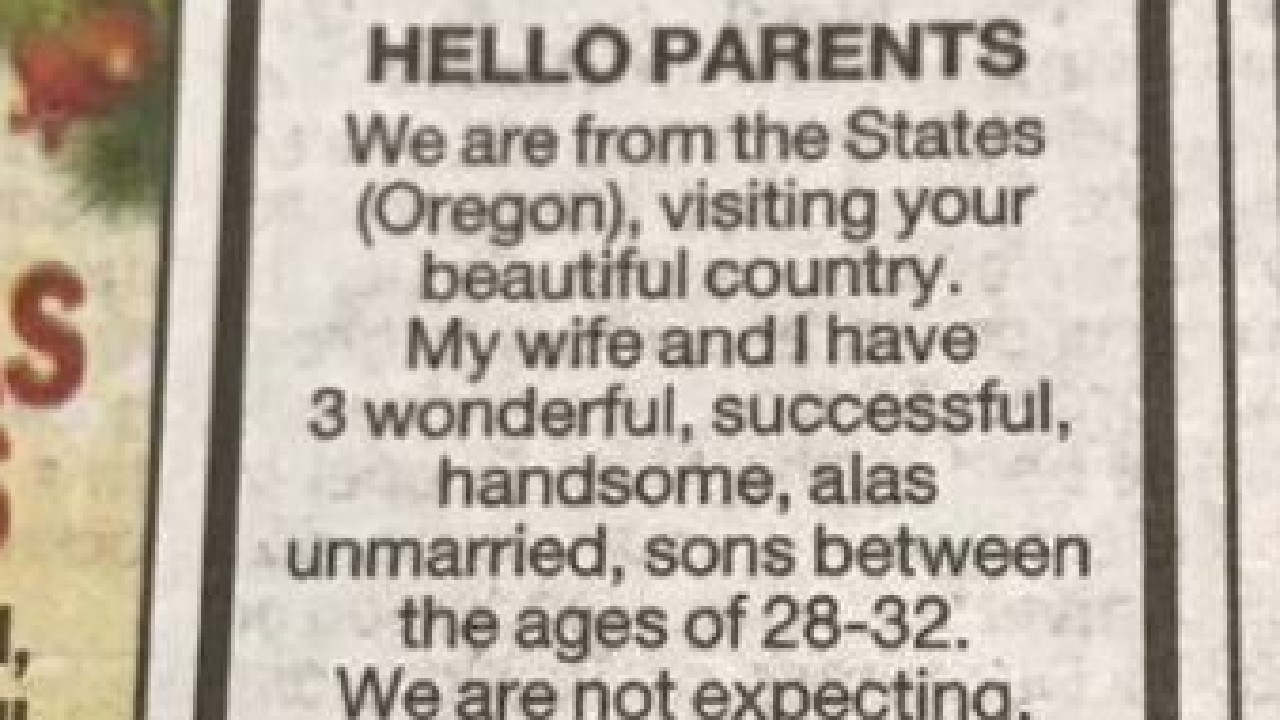 """Three brothers are in for a surprise when they land in NZ after their dad placed a dating ad for """"three wonderful, successful, handsome"""" sons."""