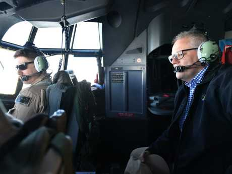 Australian Prime Minister Scott Morrison is seen in the cockpit of an Australian Air Force AC130 plane during a visit to Baghdad Airbase in Iraq. Picture: AAP