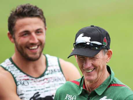 Wayne Bennett has a laugh with Rabbitohs plater Sam Burgess at Redfern Oval for his first session as Souths coach. Picture. Phil Hillyard