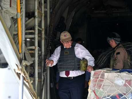 Australian Prime Minister Scott Morrison is seen on an Australian Air Force plane during a visit to Baghdad Airbase in Iraq. Picture: AAP