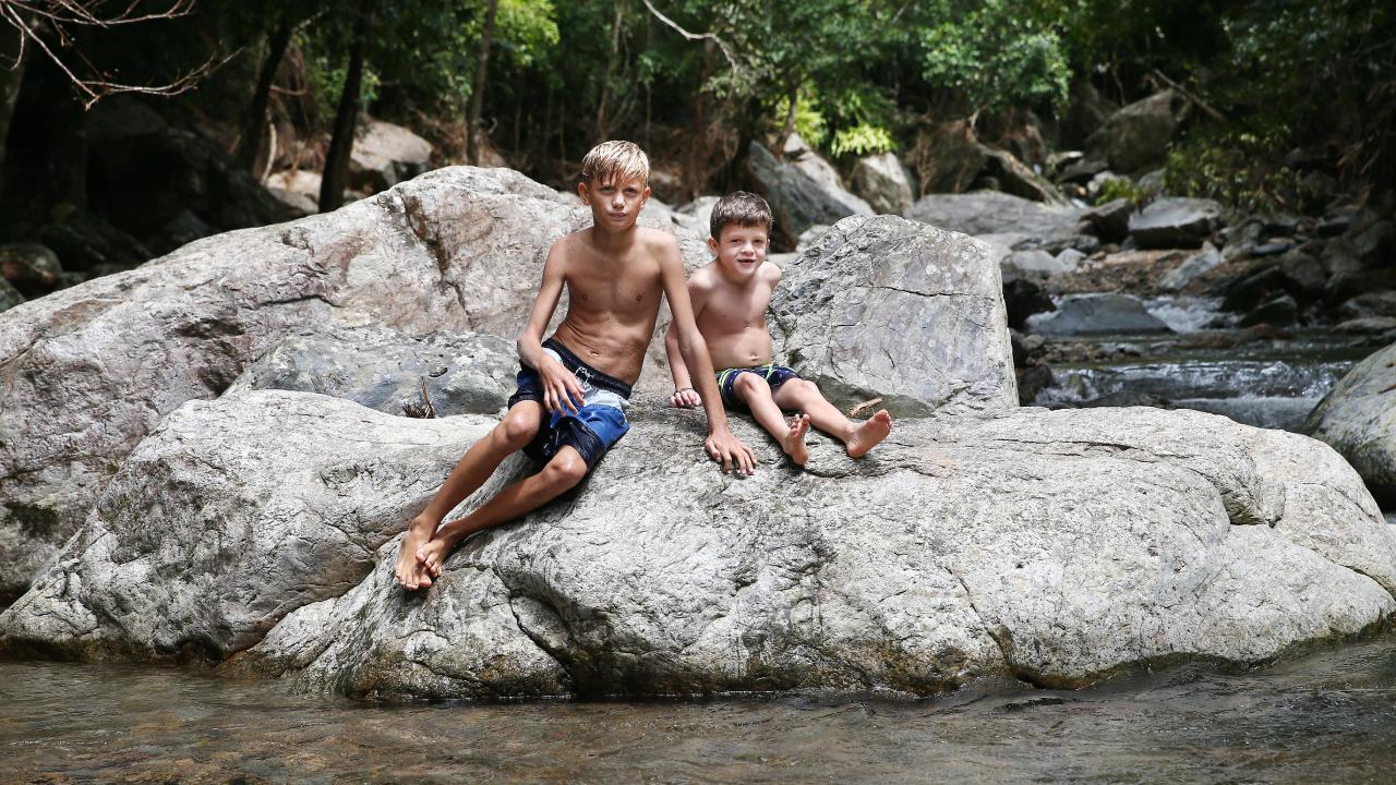 Jon Jarred, 10, and Jhett Mail, 6, swim at Stony Creek regularly. PICTURE: BRENDAN RADKE