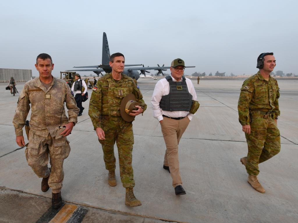 Australian Prime Minister Scott Morrison is seen during a visit to Task Group Taji at Taji Military Complex in Iraq. Picture: AAP