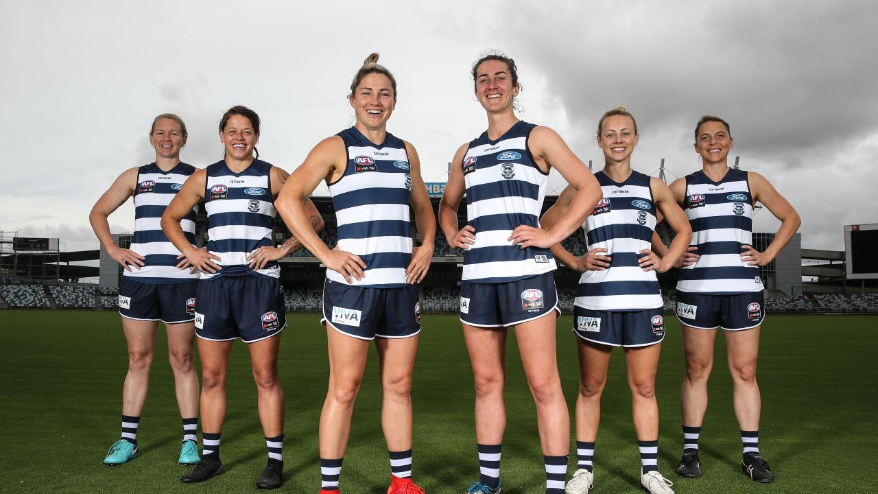 Aasta O'Connor, Richelle Rocky Cranston, Melissa Hickey, Bec Goring, Renee Garing and Anna Teague pose during the Geelong Cats AFLW leadership announcement. (Photo by Scott Barbour/AFL Media/Getty Images)