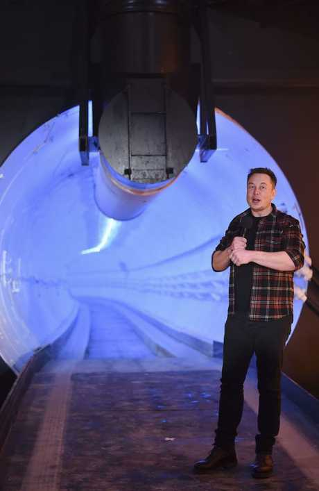 Elon Musk, co-founder and chief executive officer of Tesla Inc., speaks during an unveiling event for the Boring Company. Picture: Robyn Beck