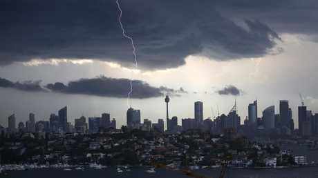 Lightning above Sydney's CBD. Picture: Christian Gilles