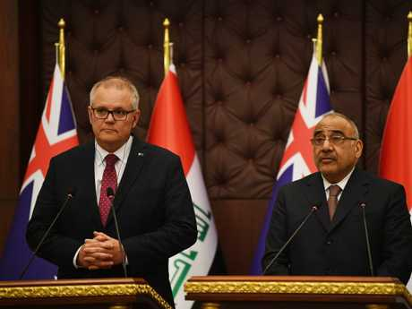 Australian Prime Minister Scott Morrison is seen with the Iraqi Prime Minister Adil Abdul-Mahdi during bilateral meetings at the Prime Minister's Palace in Baghdad. Picture: AAP