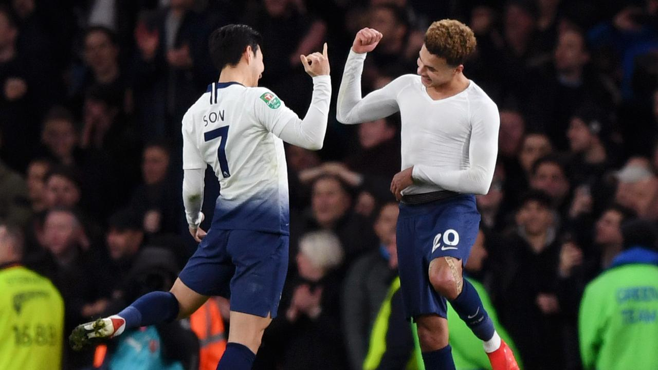 Heung-Min Son of Tottenham Hotspur and Dele Alli of Tottenham Hotspur celebrate victory