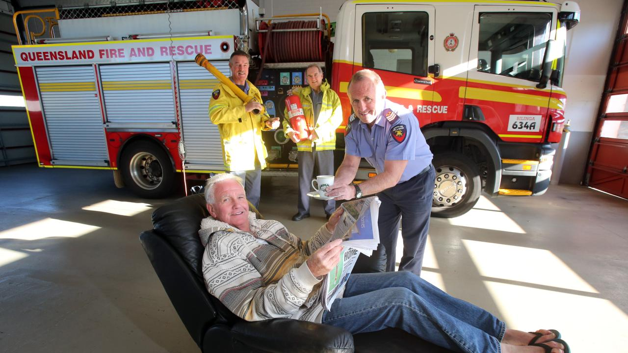 Station Officer John Macnamara in 2013 when he retired after 39 years and 10 months of serving at the Bilinga-Coolangatta Fire Station with Gary Paxton, Brian Peters and Steve Madonna.