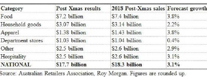 2018 Post-Christmas sales by category. Picture: Australian Retailers Association, Roy Morgan