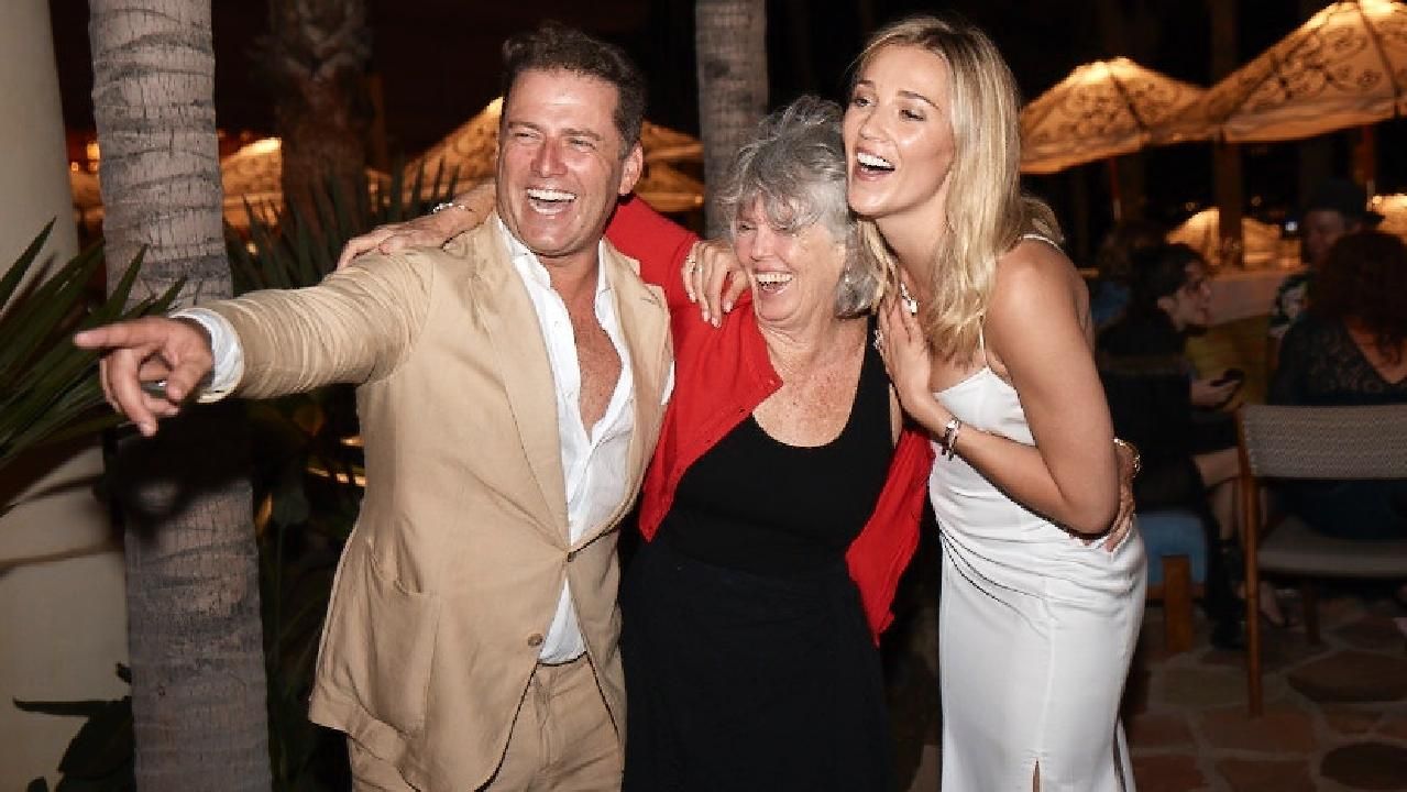 Karl Stefanovic and Jasmine Yarbrough pictured with Karl's mother Jenny in Los Cabos, Mexico.