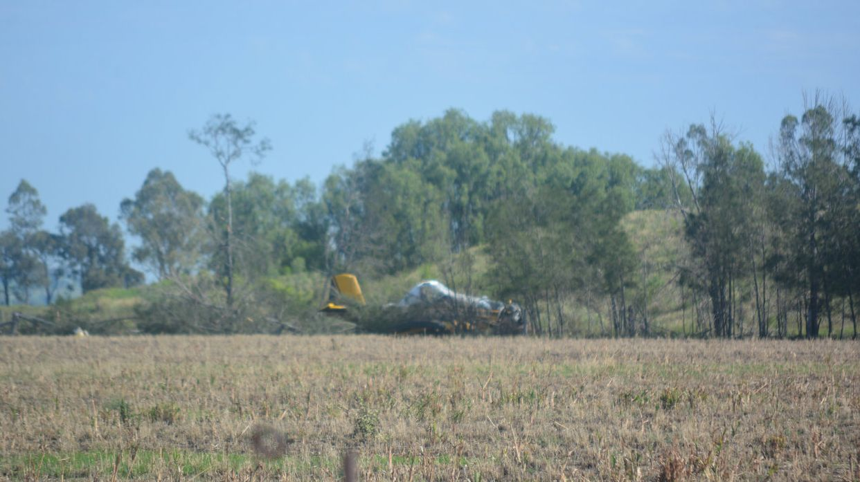 The fixed-wing aircraft crash landed into trees on a property after the plane failed to maintain altitude on a fertiliser run at Dalby about 5am Friday.