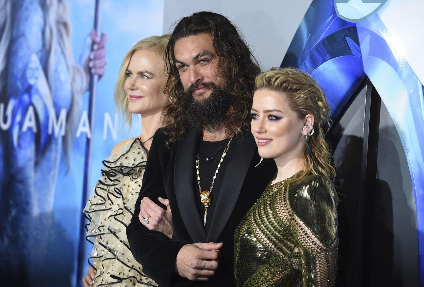Jason Momoa with Aquaman's fierce females Nicole Kidman and Amber Heard.