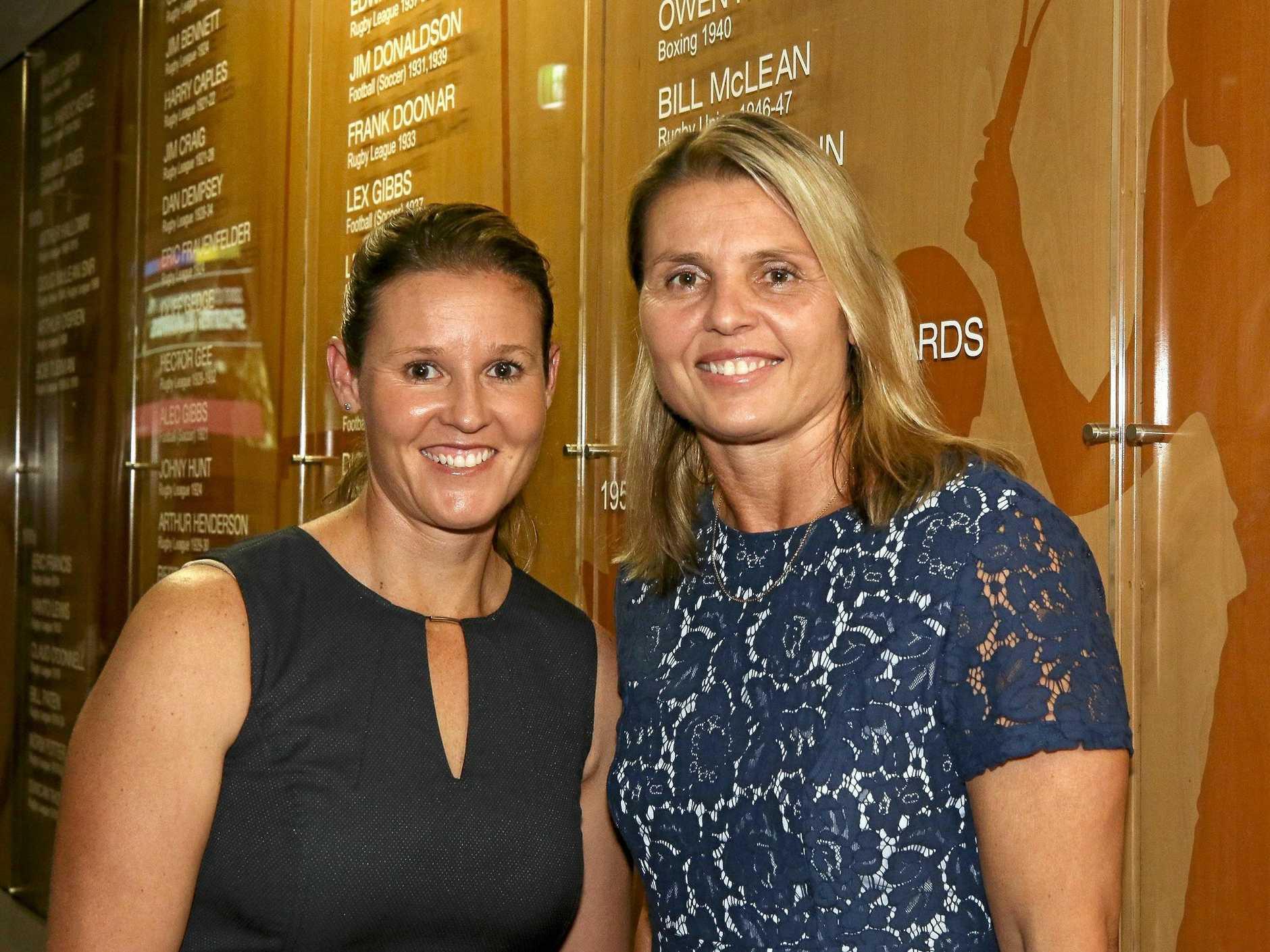 Leading women's footballer Karyn Murphy (right).