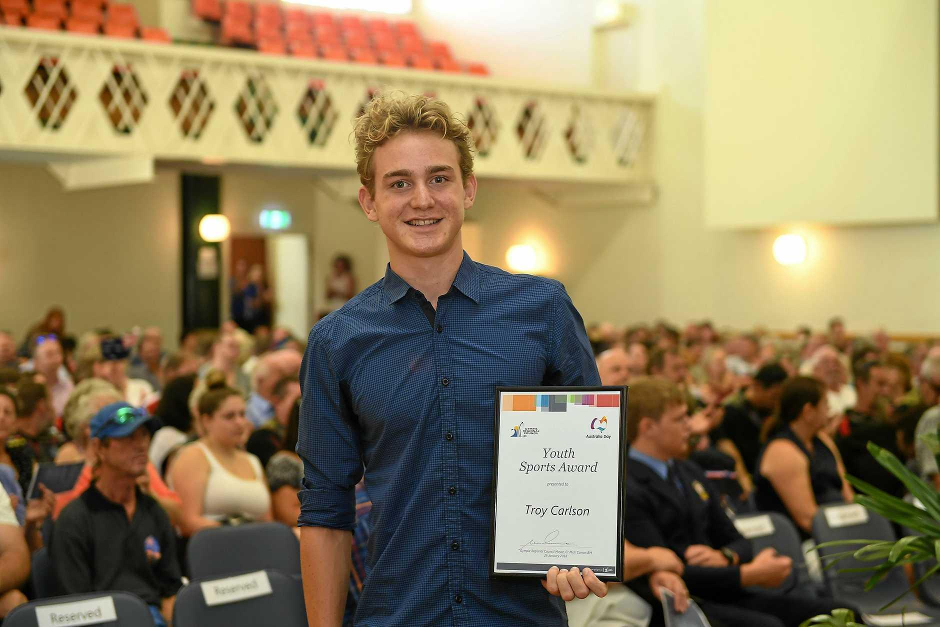 Gympie Australia Day Awards, Youth Sports Awards Troy Carlson.