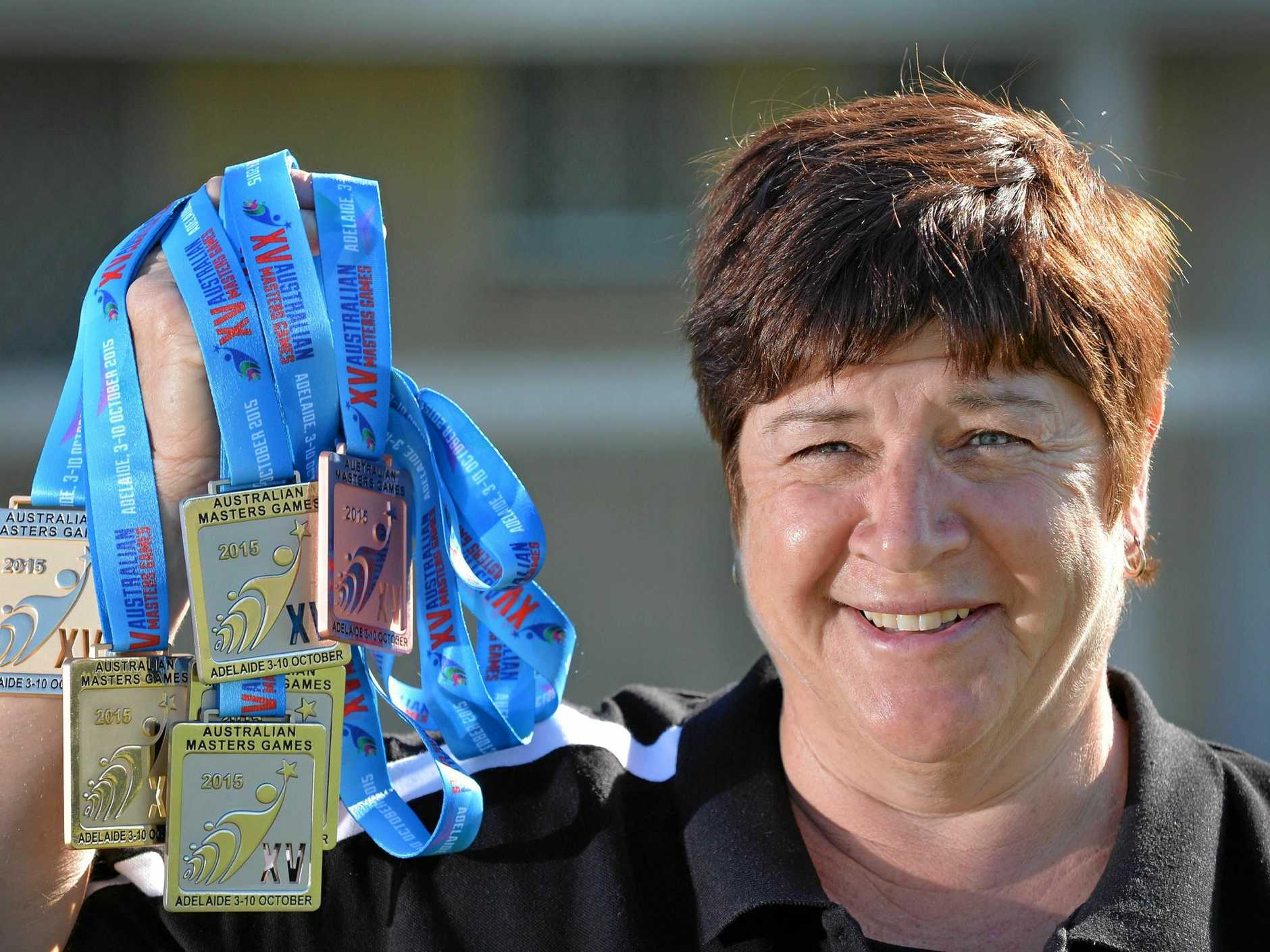 Karel McClintock won two gold medals in shot put and hammer at the Australian Masters Title in Adelaide.Photo Patrick Woods / Gympie Times