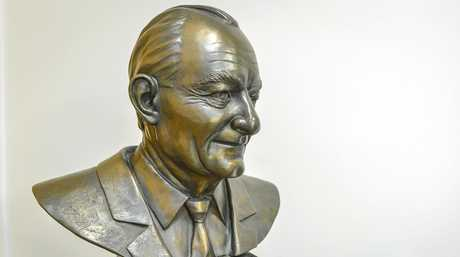 A bust of Colin Brown sits inside Gladstone Regional Council Chambers.