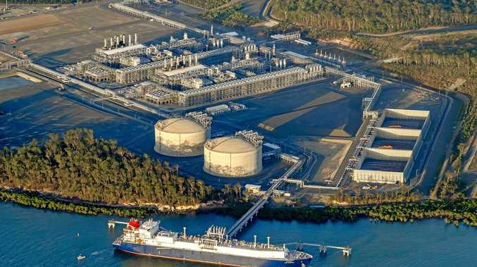 An aerial shot of the Australia Pacific LNG facility on Curtis Island.