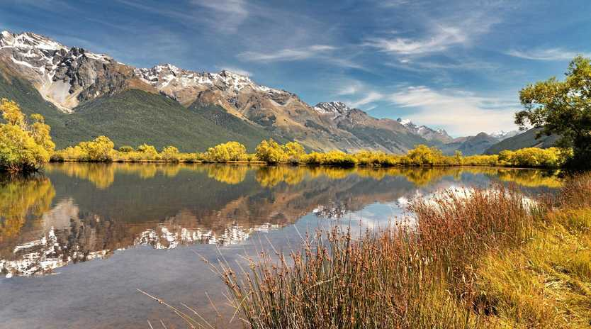 Glenorchy with Lake Wakatipu, the Thomson Mountains and Tooth Peak, New Zealand
