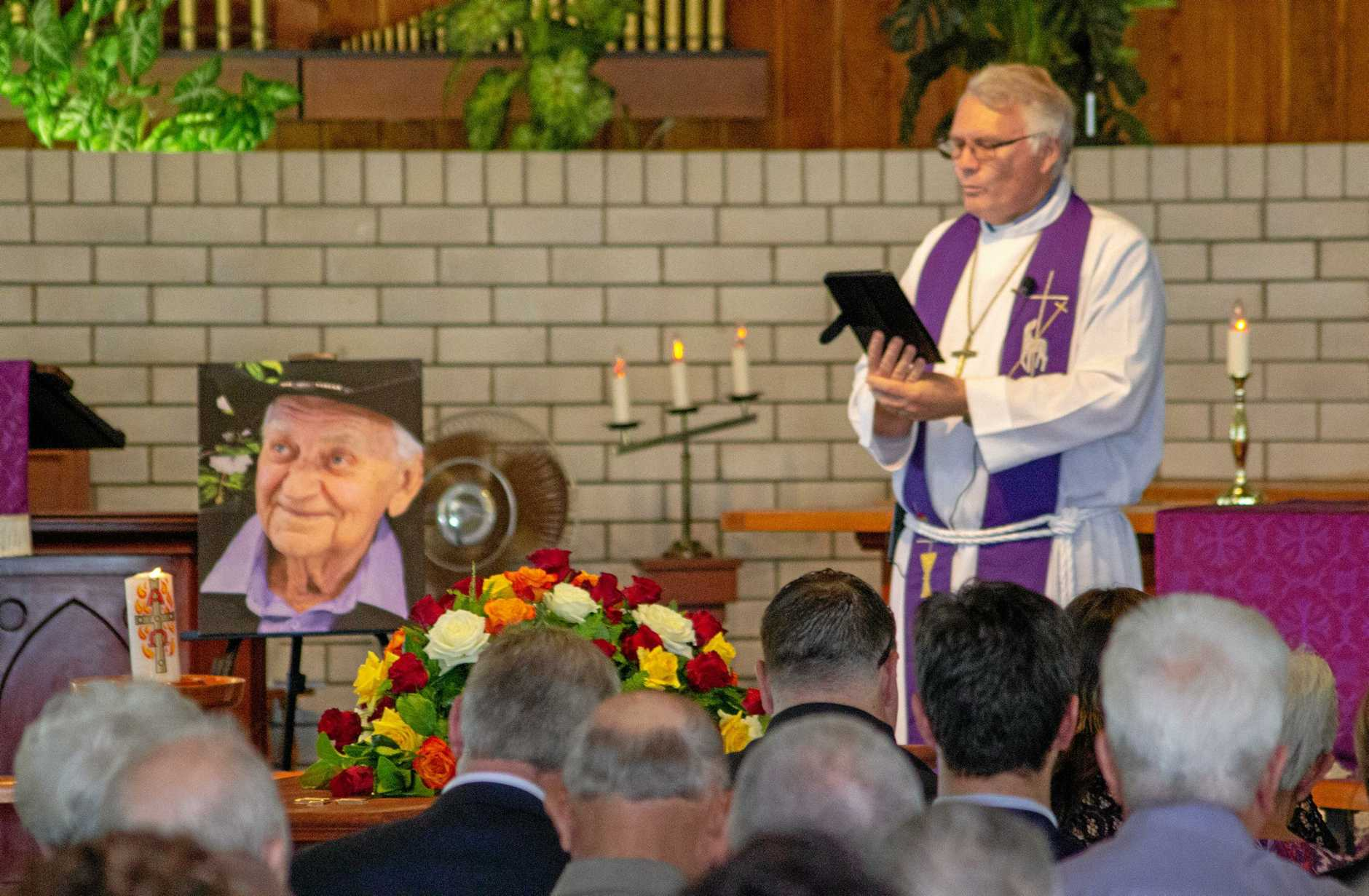 Pastor Noel Burton speaks at the funeral of Ray Orme Bachmann (March 23 1938 - December 10 2018), held in Laidley on December 18, 2018.