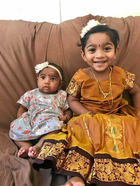 FUTURE UNCERTAIN: Biloela girls Kopika, 3, and Tharunicaa, 1, have been in a Melbourne detention centre since March with their parents Priya and Nades.