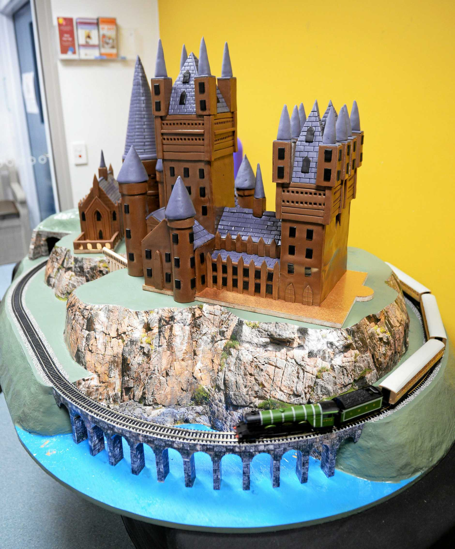 Drew Wickerson made and donated the Hogwarts cakes to Children's Ward at Rockhampton Hospital.