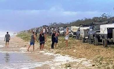 BACKED UP: Campers at Teewah Beach, near Doule Island Point have had to park their cars up on the sand dunes as there is no beach left to drive on.