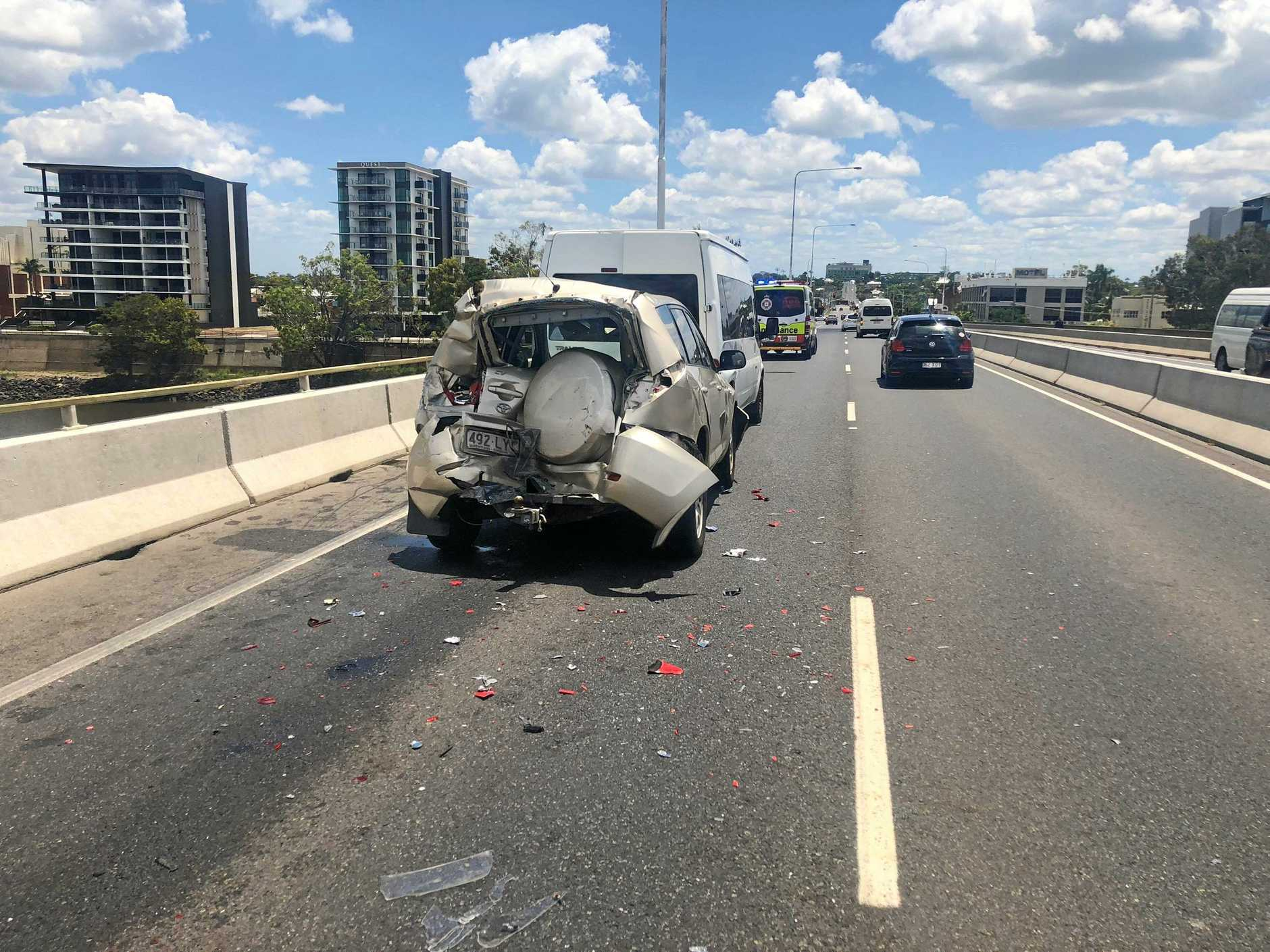 Three vehicles, including a truck, were involved in a crash on the Neville Hewitt Bridge shortly before 1pm.