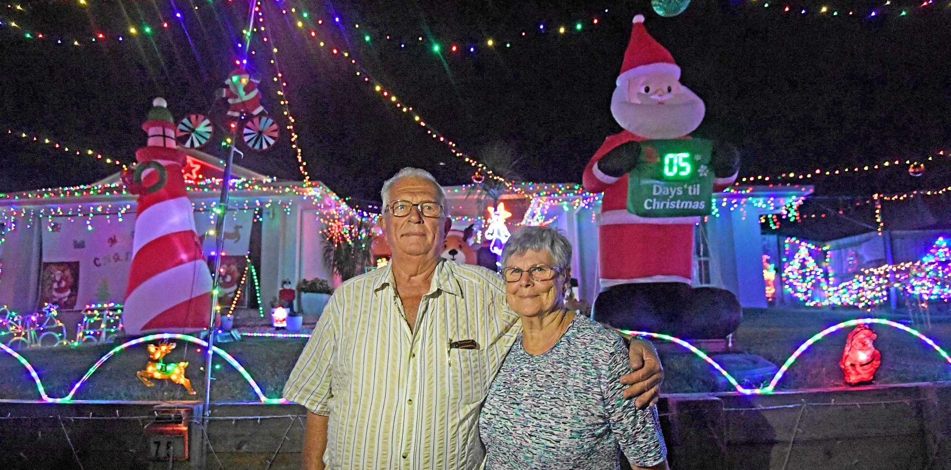 CHAMPS: Elwyn and Lorraine Cumner Christmas lights winners.