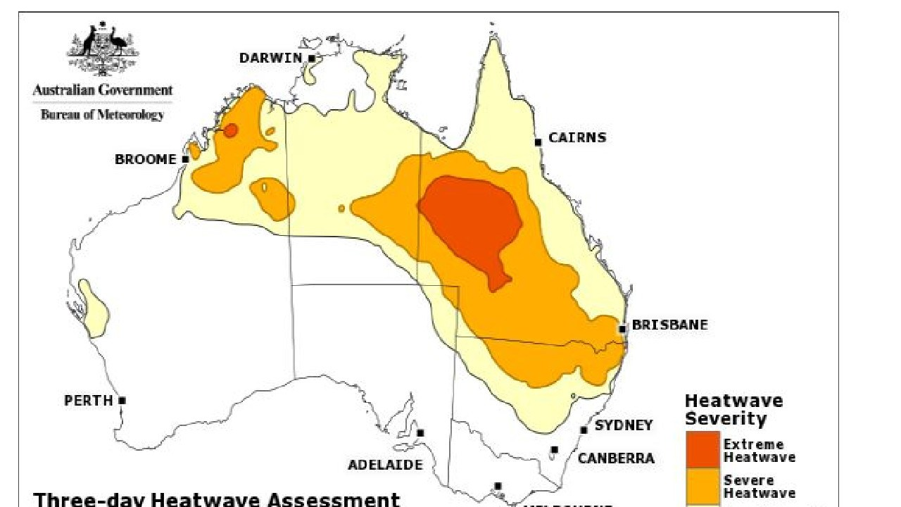 Extreme to severe heatwaves are forecast across Queensland and the Northern Territory and into NSW on Friday. Picture: Bureau of Meteorology.