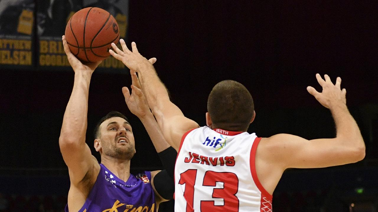 Andrew Bogut (left) of the kings competes for possession against Tom Jervis of the Wildcats during the Round 8 NBL match between Sydney Kings and Perth Wildcats at Qudos Bank Arena in Sydney, Thursday, December 6, 2018. (AAP Image/Brendan Esposito) NO ARCHIVING, EDITORIAL USE ONLY