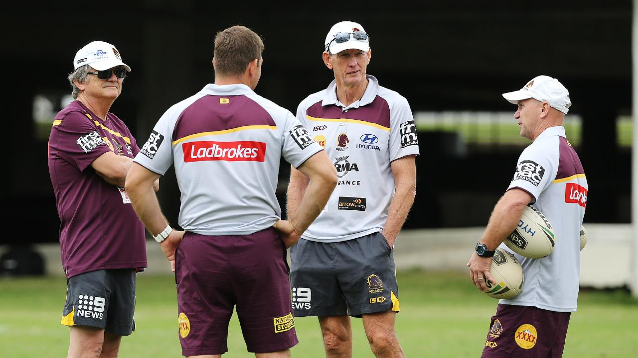 Sports psychologist Phil Jauncey (left) at Broncos training with Wayne Bennett and Allan Langer. Picture: Claudia Baxter