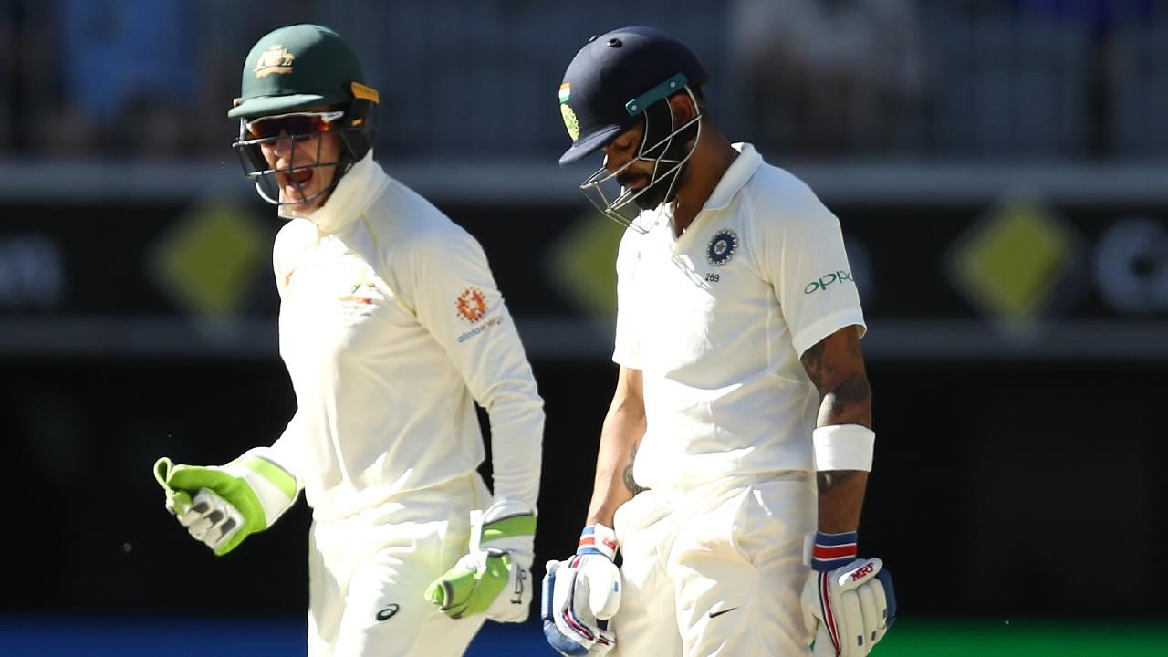 Tim Paine and Virat Kohli have been clashing verbally. Picture: Getty