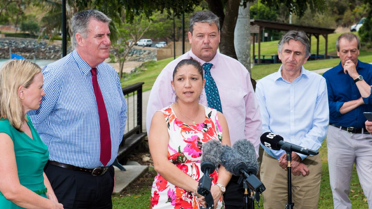 Tourism Whitsundays chief executive Natassia Wheeler with ministers Kate Jones (left) and Mark Furner (second from left) following the shark attacks.