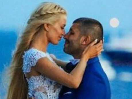 Viktoria Karida and John Macris at their 2016 wedding on the Greek island of Mykonos. Picture: Supplied