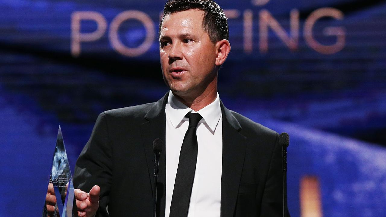 MELBOURNE, AUSTRALIA - FEBRUARY 12: Ricky Ponting speaks after being inducted ito the Hall Of Fame at the 2018 Allan Border Medal at Crown Palladium on February 12, 2018 in Melbourne, Australia. (Photo by Michael Dodge/Getty Images)