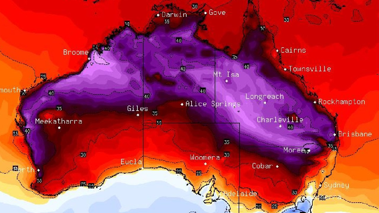 A purple lick of heat is heading from central Australia down to both Brisbane and Perth. Picture: BSCH.