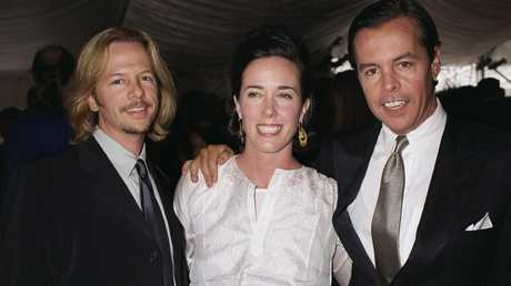 Kate Spade with her husband at right and her brother-in-law, actor David Spade, at left. Picture: Getty