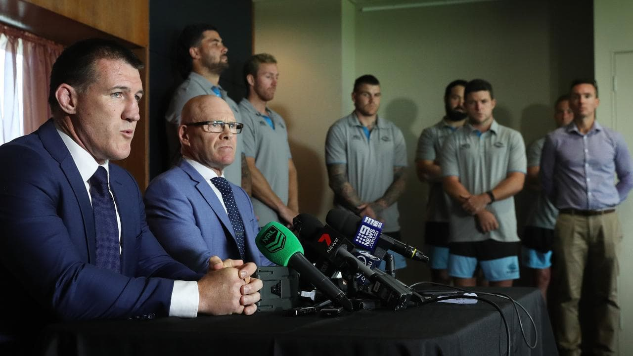 The Cronulla Sharks are in serious danger of being taken over by the NRL. Picture: Brett Costello