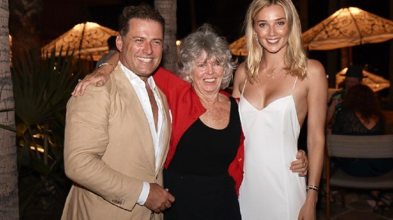 Karl Stefanovic and Jasmine Yarbrough pictured with Karl's mother Jenny at the One & Only Palmilla resort in Los Cabos, Mexico