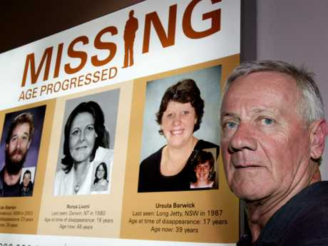 Peter Barwick with a missing persons poster featuring Ursula